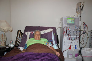 a patient lying in bed