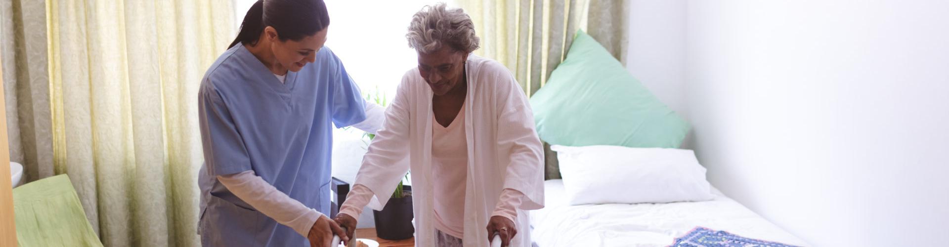 nurse with senior woman