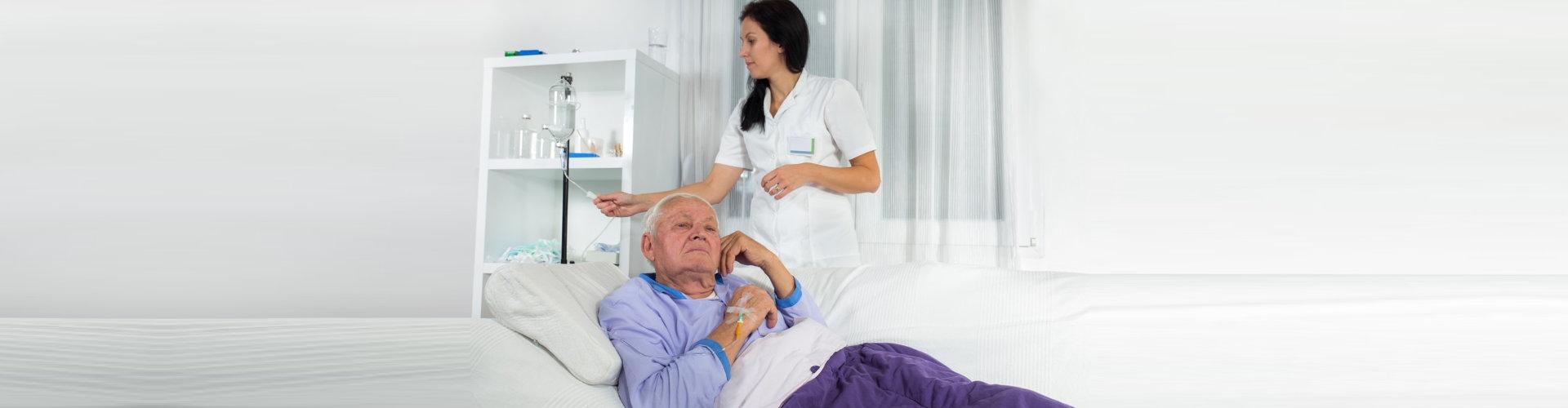 an elderly patient with a nurse